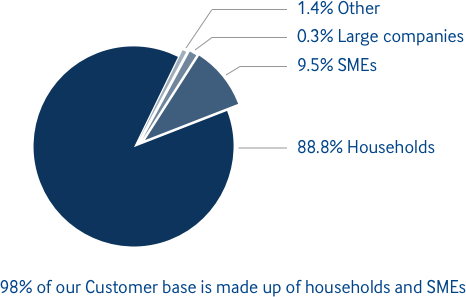 Customer base breakdown